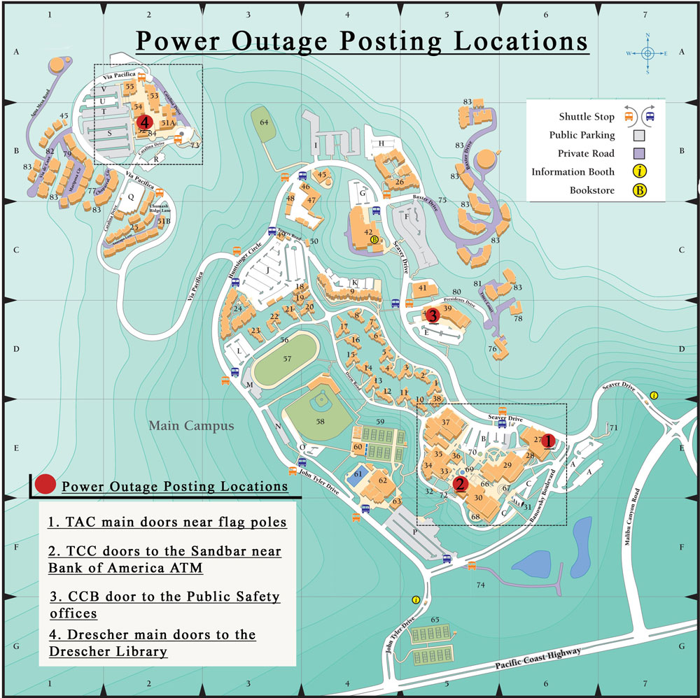 Pepperdine Malibu Campus Map.Power Outages Pepperdine Emergency Information